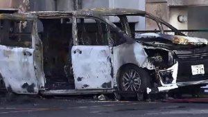 ツイッターで実況投稿!名古屋市中区のコインパーキングで車が全焼する火事